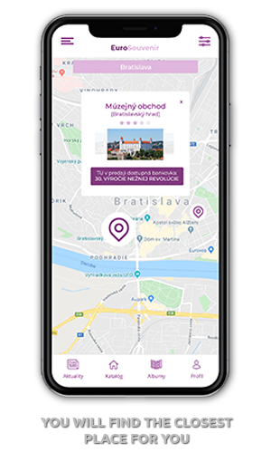 mobilná aplikácia EuroSouvenir mapa