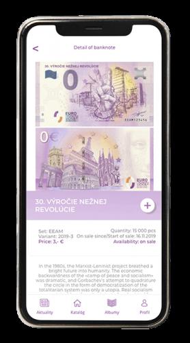 aplikácia screenshot eurosouvenir detail