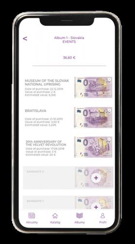 aplikácia screenshot eurosouvenir bankovky