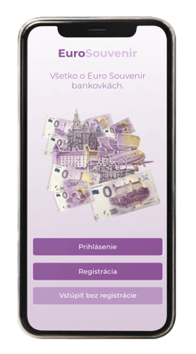 aplikácia screenshot eurosouvenir prihlásenie