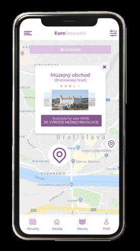 aplikácia screenshot eurosouvenir mapa